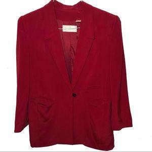 Dana Buchman Red Silk Blazer Size 12 One Button